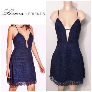 New. Lovers + Friends navy lace mini dress. NWOT